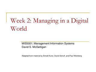 Week 2: Managing in a Digital  World