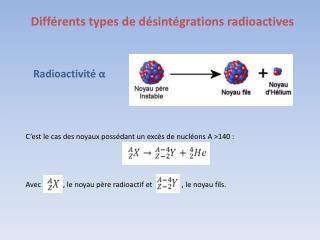 Différents types de désintégrations radioactives