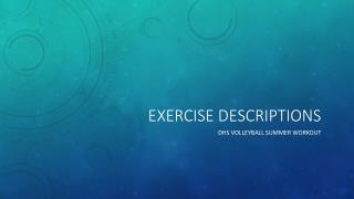 Exercise Descriptions