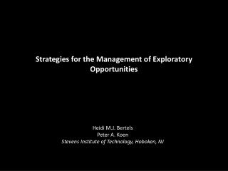 Strategies for the Management of Exploratory Opportunities