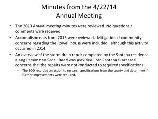 Minutes from the 4/22/14  Annual Meeting