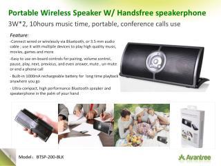 Portable Wireless Speaker W/  Handsfree  speakerphone