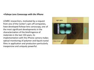 • Fisheye Lens  Conoscopy  with the  iPhone