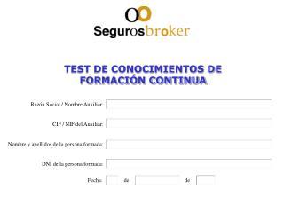 TEST DE CONOCIMIENTOS DE  FORMACIÓN CONTINUA