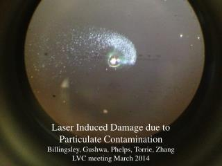 Laser Induced Damage due to  Particulate Contamination