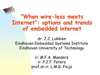 """When wire-less meets Internet"": options and trends of embedded internet"