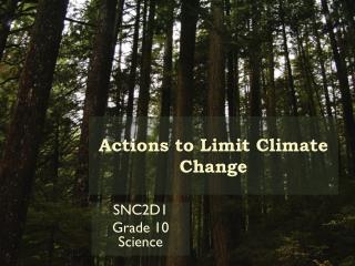 Actions to Limit Climate Change