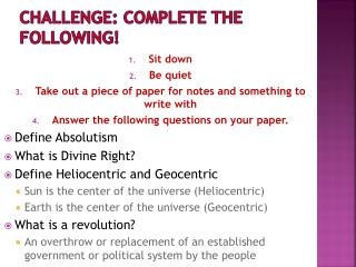 Challenge: Complete the Following!