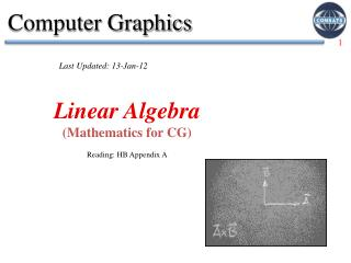 Linear Algebra (Mathematics for CG) Reading: HB  Appendix A