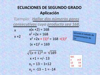 ECUACIONES DE SEGUNDO GRADO Aplicación