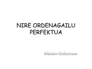 NIRE ORDENAGAILU PERFEKTUA