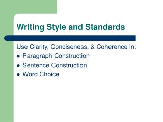 Writing Style and Standards