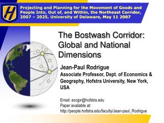 The Bostwash Corridor: Global and National Dimensions