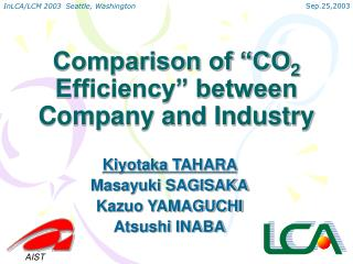 "Comparison of ""CO 2  Efficiency"" between Company and Industry"