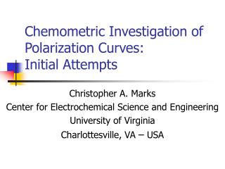 Chemometric Investigation of Polarization Curves: Initial Attempts
