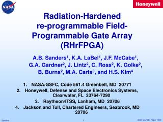 Radiation-Hardened  re-programmable Field-Programmable Gate Array (RHrFPGA)