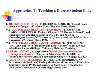 Approaches To Teaching a Diverse Student Body