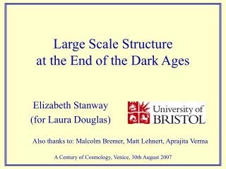 Large Scale Structure  at the End of the Dark Ages