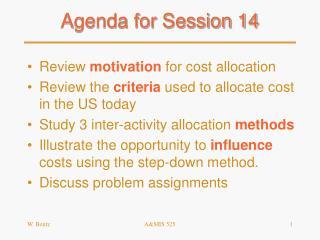 Agenda for Session 14