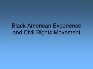 Black American Experience and Civil Rights Movement