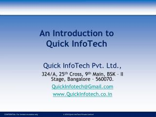An Introduction to Quick InfoTech