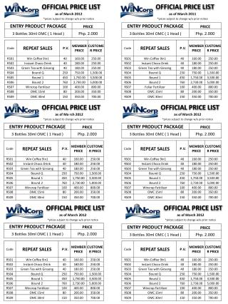 OFFICIAL PRICE LIST
