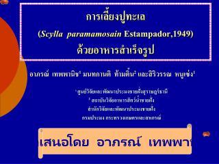 การเลี้ยงปูทะเล ( Scylla   paramamosain Estampador,1949 ) ด้วยอาหารสำเร็จรูป