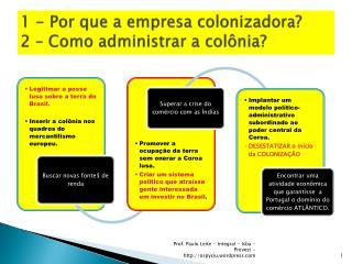 1 - Por que a empresa colonizadora? 2 – Como administrar a colônia?