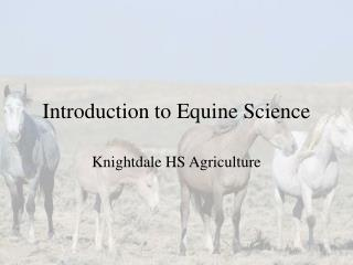 Introduction to Equine Science