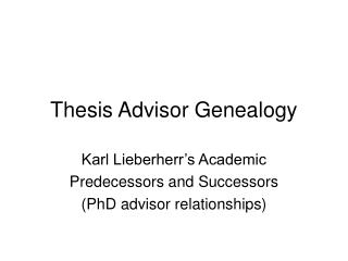 Thesis Advisor Genealogy