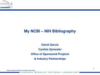 My NCBI – NIH Bibliography
