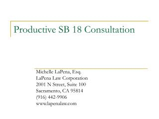 Productive SB 18 Consultation
