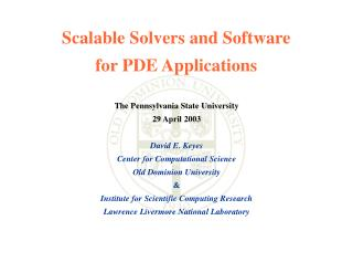 Scalable Solvers and Software  for PDE Applications
