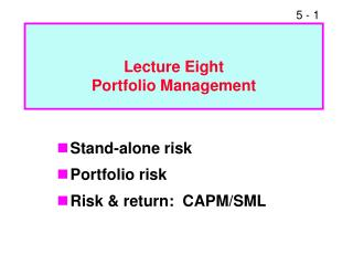 Lecture Eight  Portfolio Management