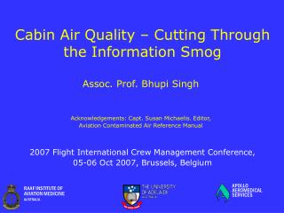 Cabin Air Quality – Cutting Through the Information Smog