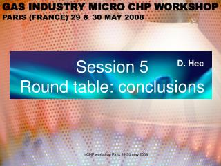 GAS INDUSTRY MICRO CHP WORKSHOP PARIS (FRANCE) 29 & 30 MAY 2008