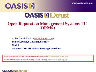 Open Reputation Management Systems TC (ORMS)