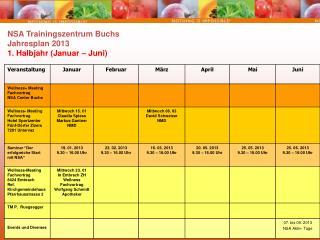 NSA Trainingszentrum Buchs Jahresplan 2013 1. Halbjahr (Januar – Juni)