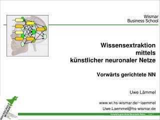Wissensextraktion  mittels künstlicher neuronaler Netze Vorwärts gerichtete NN