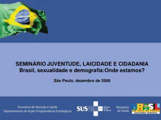 SEMINÁRIO JUVENTUDE, LAICIDADE E CIDADANIA Brasil, sexualidade e demografia:Onde estamos?