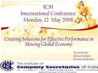 ICSI  International Conference Monday, 12  May 2008