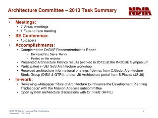 Architecture Committee – 2013 Task Summary