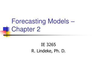 Forecasting Models   Chapter 2