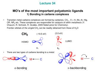 Lecture 34  MO's of the most important polyatomic ligands  1) Bonding in carbene complexes