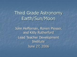 Third Grade Astronomy Earth