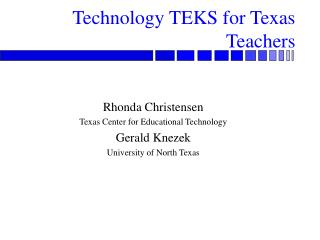 Technology TEKS for Texas Teachers