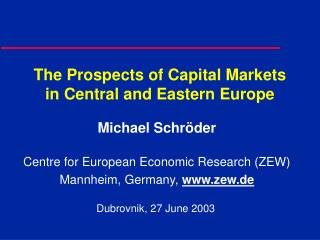 The Prospects of Capital Markets in Central and Eastern Europe