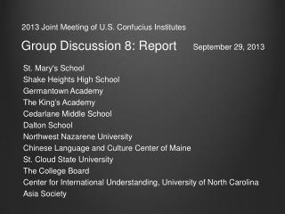 2013 Joint Meeting of U.S. Confucius Institutes