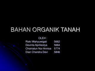 BAHAN ORGANIK TANAH