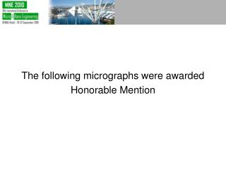 The following micrographs were awarded  Honorable Mention